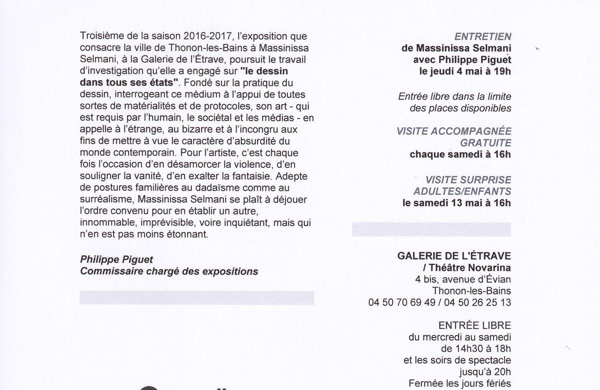 """Thonon-les-Bains (74), Galerie de l'Etrave, commissariat de l'exposition : """"Massinissa Selmani - même dans la pierre il y a du sable"""", vernissage ce vendredi 31 mars 2017 à 18 h30..."""