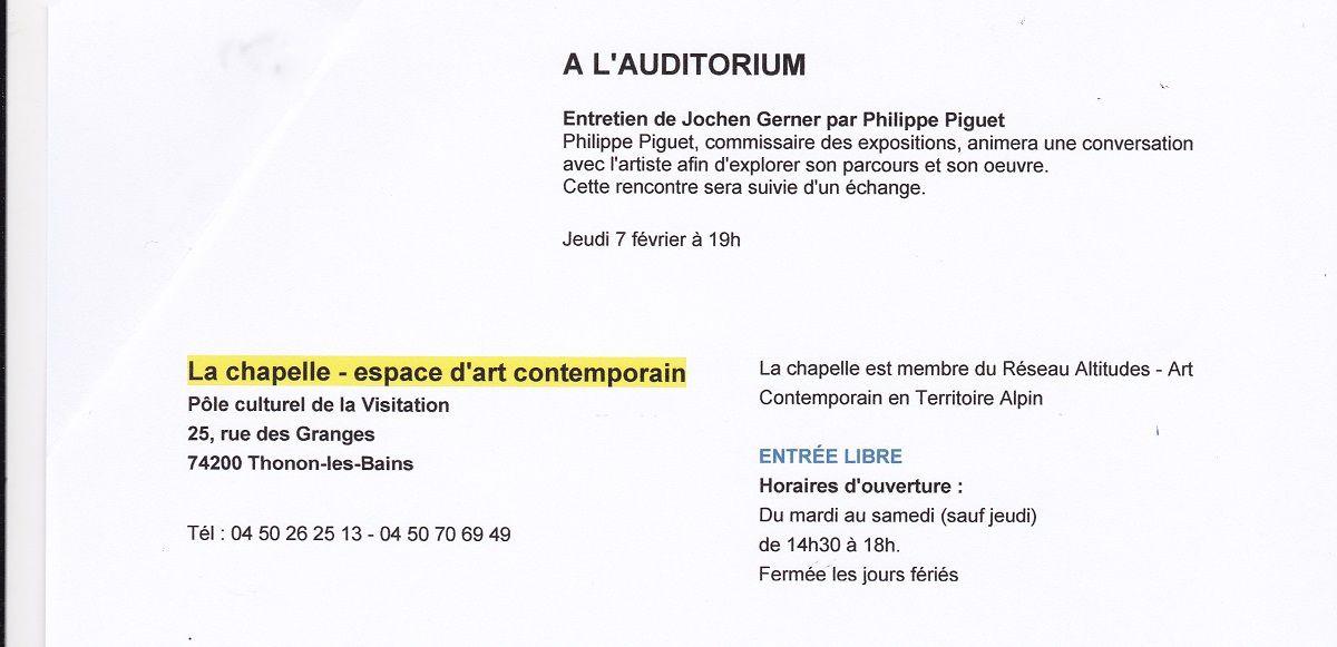 Thonon-les-Bains (74), Pôle Culturel de la Visitation, Auditorium, entretien public avec Jochen Gerner, dessinateur-auteur, ce jeudi 7 février 2019, dans le cadre de son exposition à La Chapelle (jusqu'au 9 mars)...