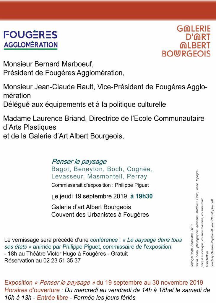 """Fougères (35), Galerie d'art Albert Bourgeois, commissariat de l'exposition """" Penser le paysage"""", vernissage le jeudi 19 septembre 2019 à 19 h..."""