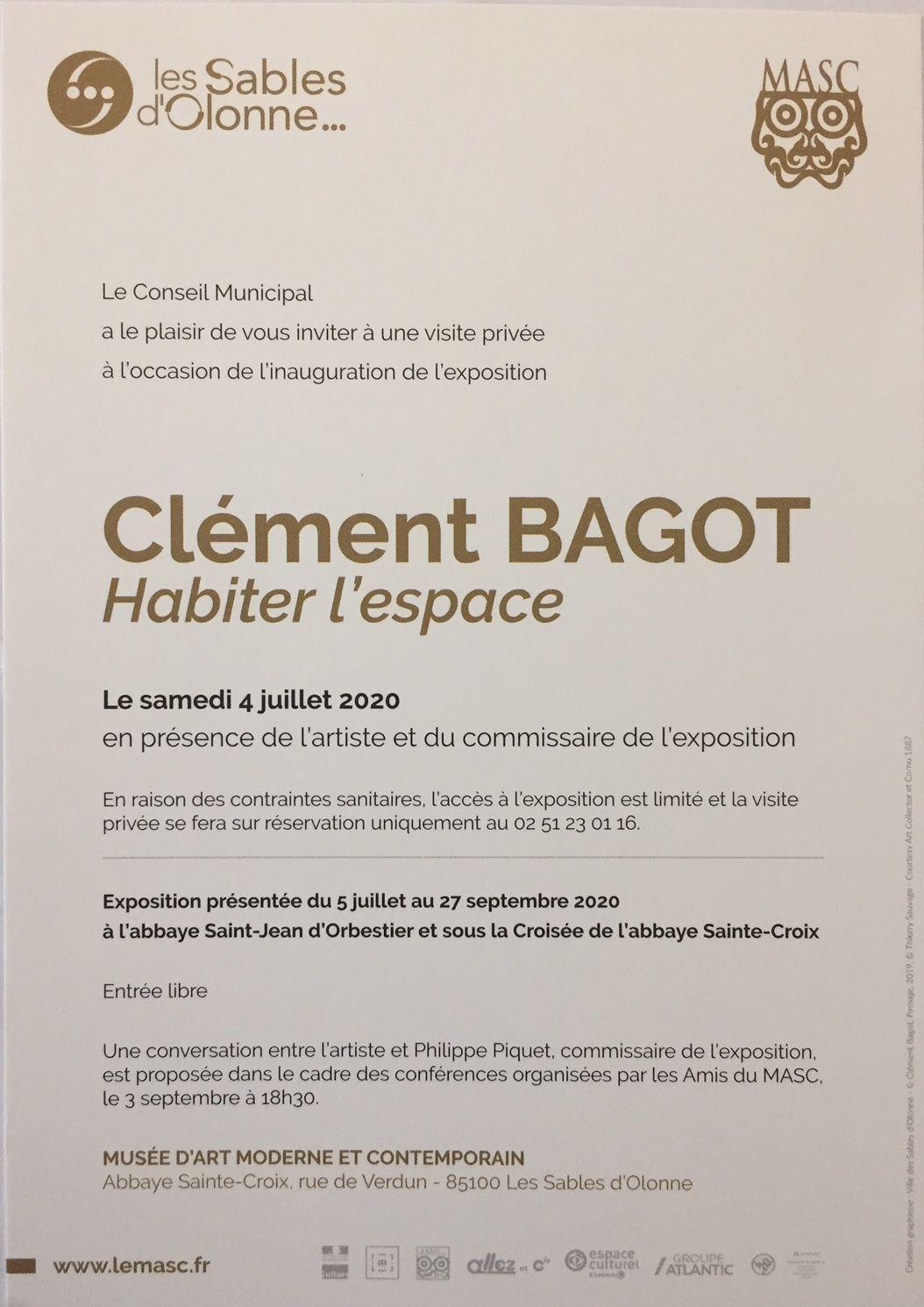 """Les Sables d'Olonne (85), Musée de l'Abbaye Sainte-Croix & Abbaye St-Jean d'Orbestier, commissaire de l'exposition """"Clément Bagot. Habiter l'espace"""", jusqu'au 27 septembre 2020..."""
