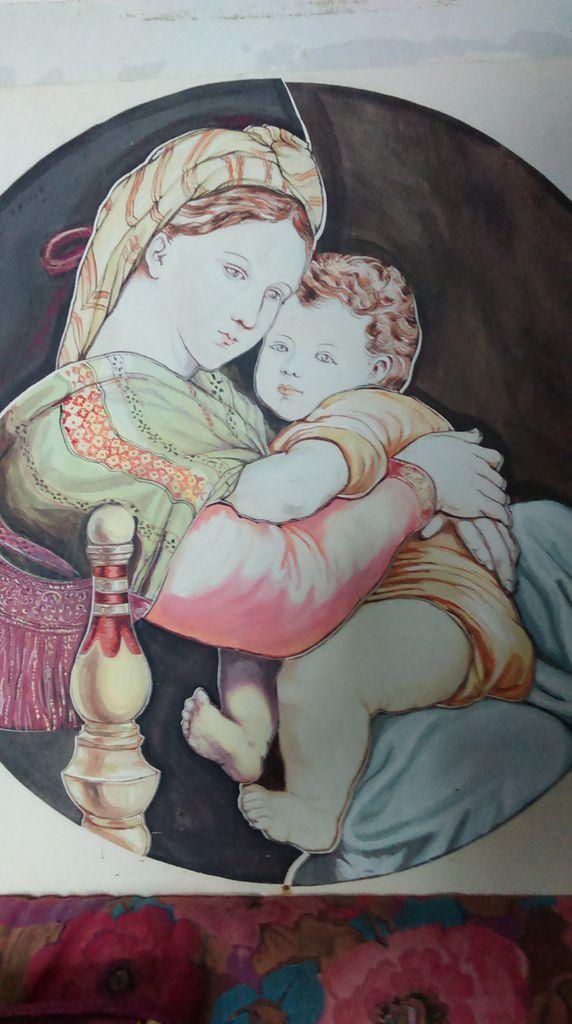 Gouache de la madone de Raphael