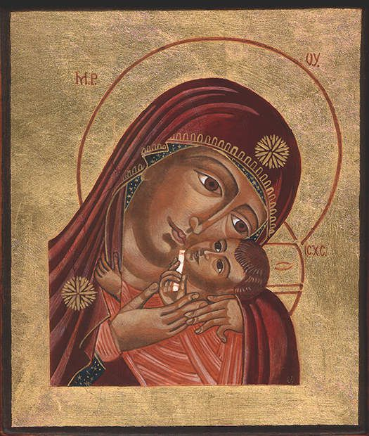 tableau peinture icone vierge de la tendresse