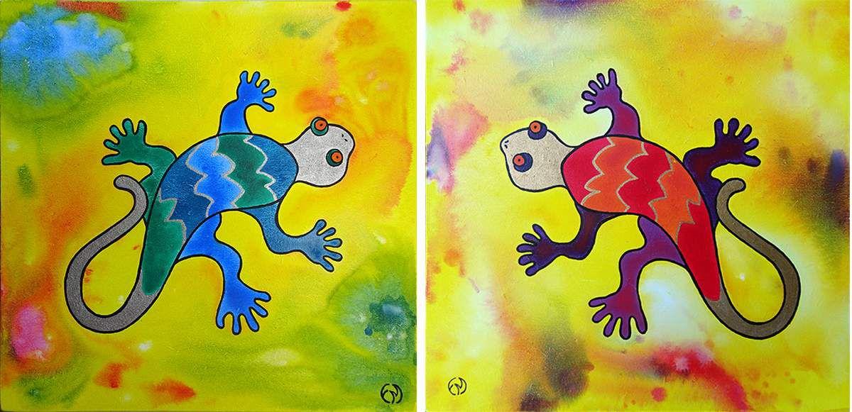 tableau peinture diptyque les geckos
