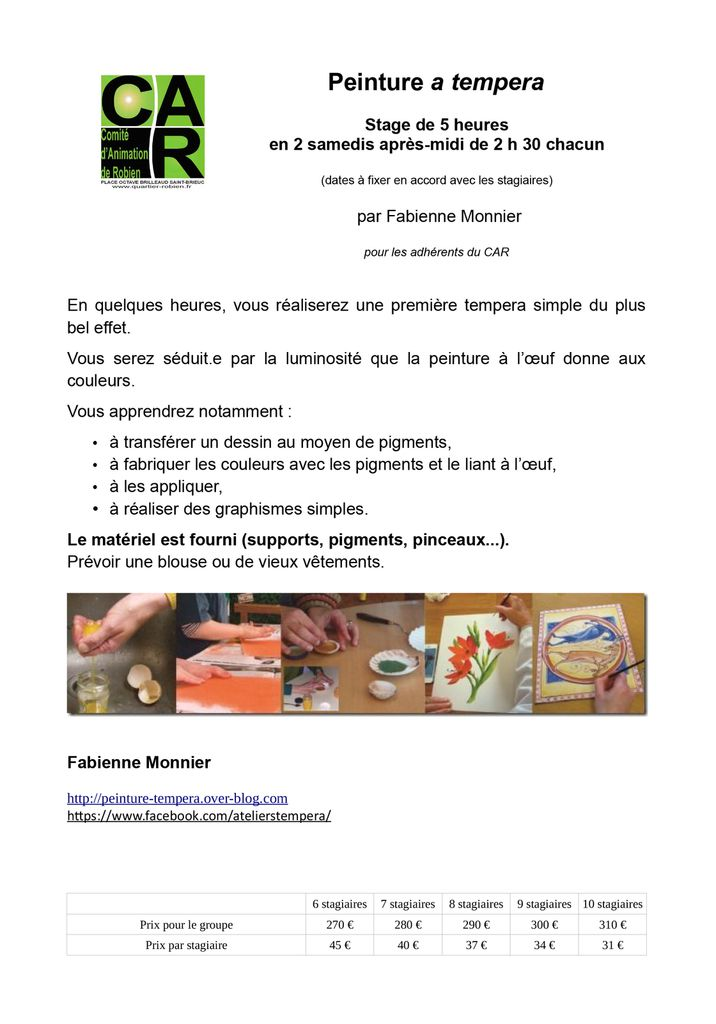 stage tempera a robien