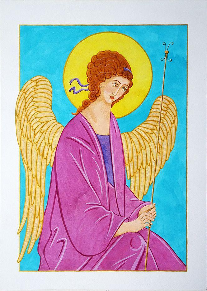 D'après l'ange de gauche de la Trinité de Roublev - Tempera sur medium - 35 x 25 cm
