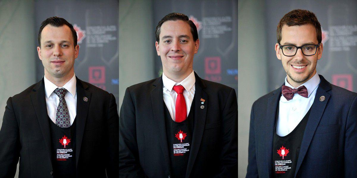 Pier-Alexis Soulière, Martin Bruno et Carl Villeneuve Lepage sont en finale du concours ASI du Meilleur sommelier des Amériques. (Photos Jean Bernard)