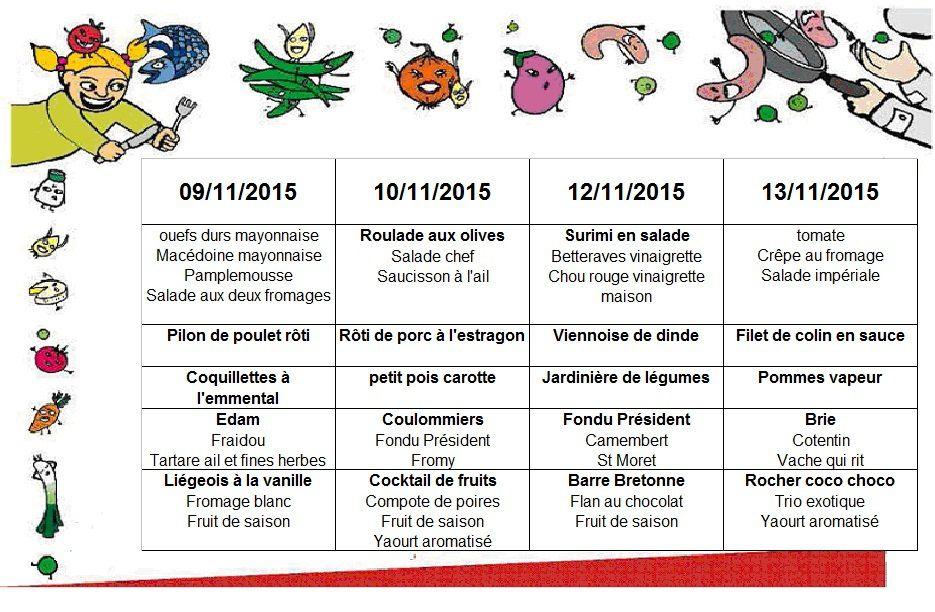 MENU du 09/11 au 13/11/2015