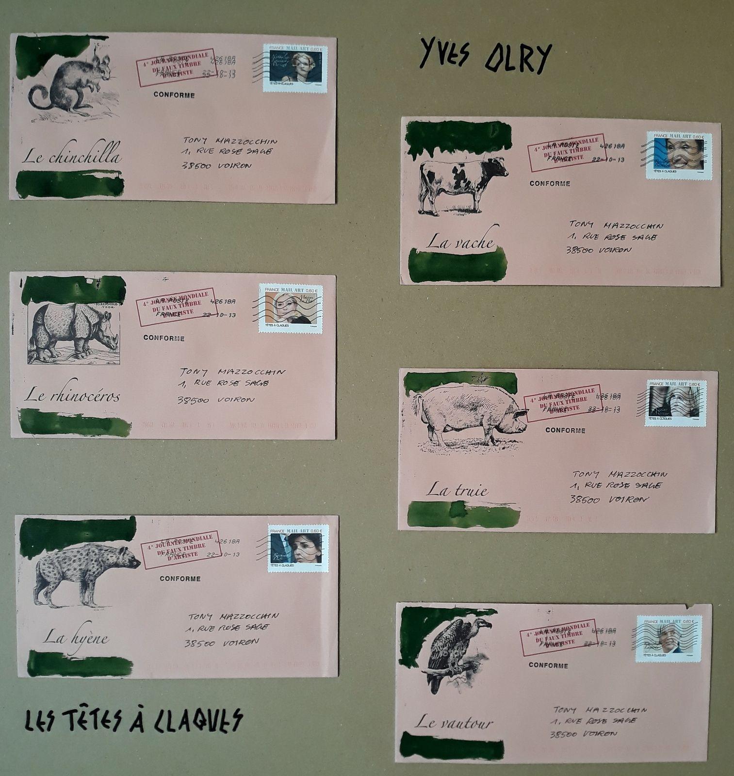 en 2014 pour mon expo à Une Vie  Un Arbre, il avait crée ces timbres et ces enveloppes...