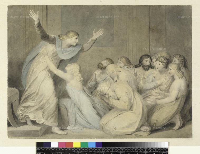Joseph reconnait enfin ses frères, Benjamin se précipite par W. Blake