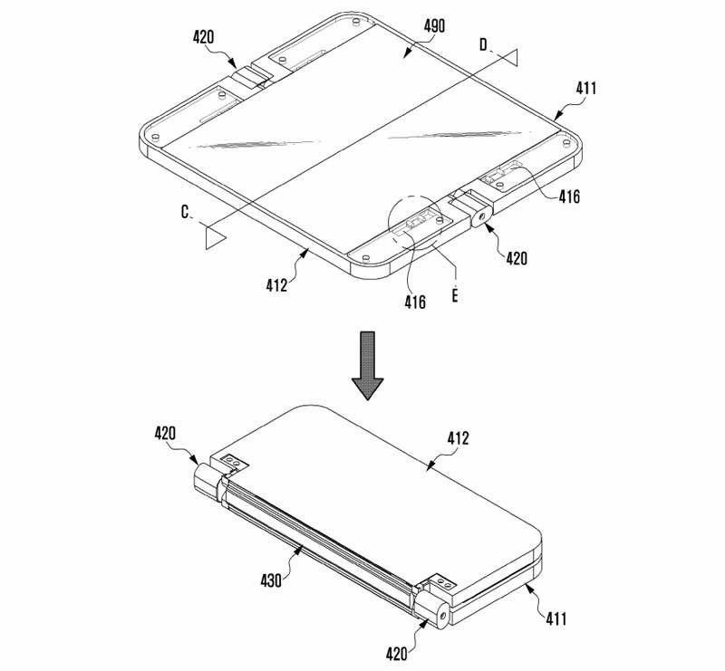 Samsung serait en première ligne avec le Galaxy X, qui se dévoile une nouvelle fois aujourd'hui dans un brevet déposé par la marque.