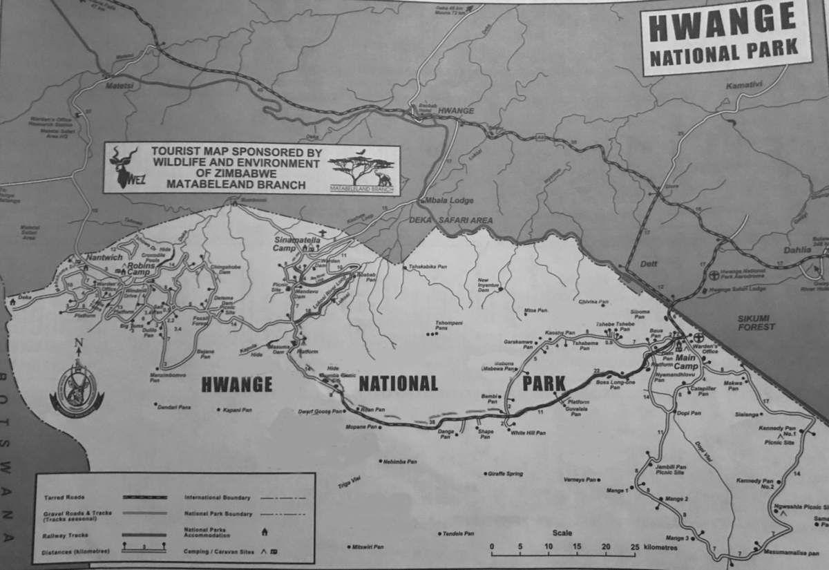 Figure 4: Map of Hwange National Park received at Sinamatella entrance in 2016