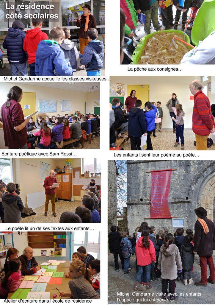 Quelques images de l'accueil et des ateliers proposés aux scolaires par Michel Gendarme.