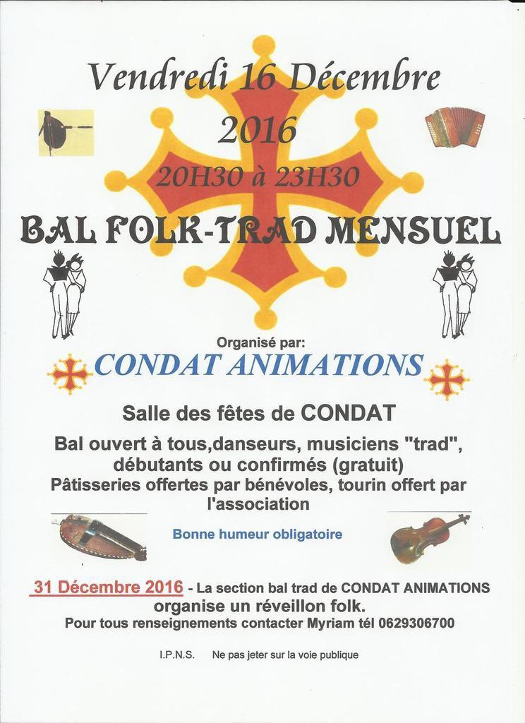 BAL MENSUEL A CONDAT ET INSCRIPTION POUR LE RÉVEILLON DU 31 DÉCEMBRE