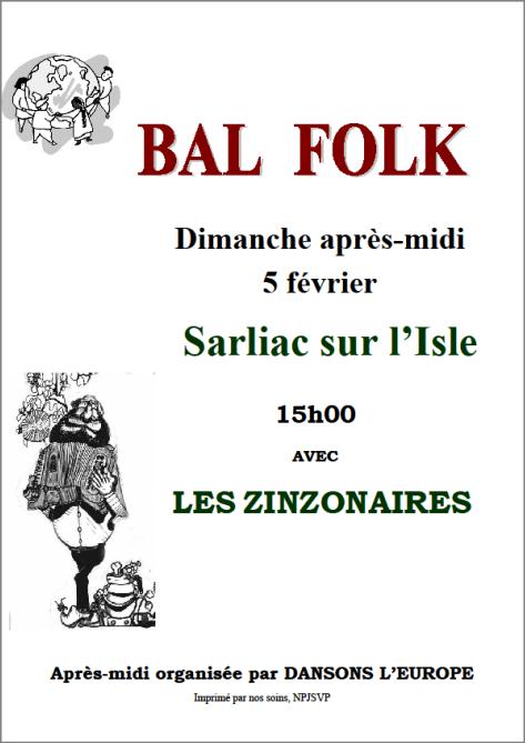 Sarliac, dimanche 5 février aprés midi, Bal  Folk avec Los Zinzonaires