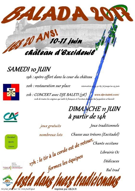 A Excideuil, Samedi 10 et dimanche 11 juin la Balada fête ses 20 ans
