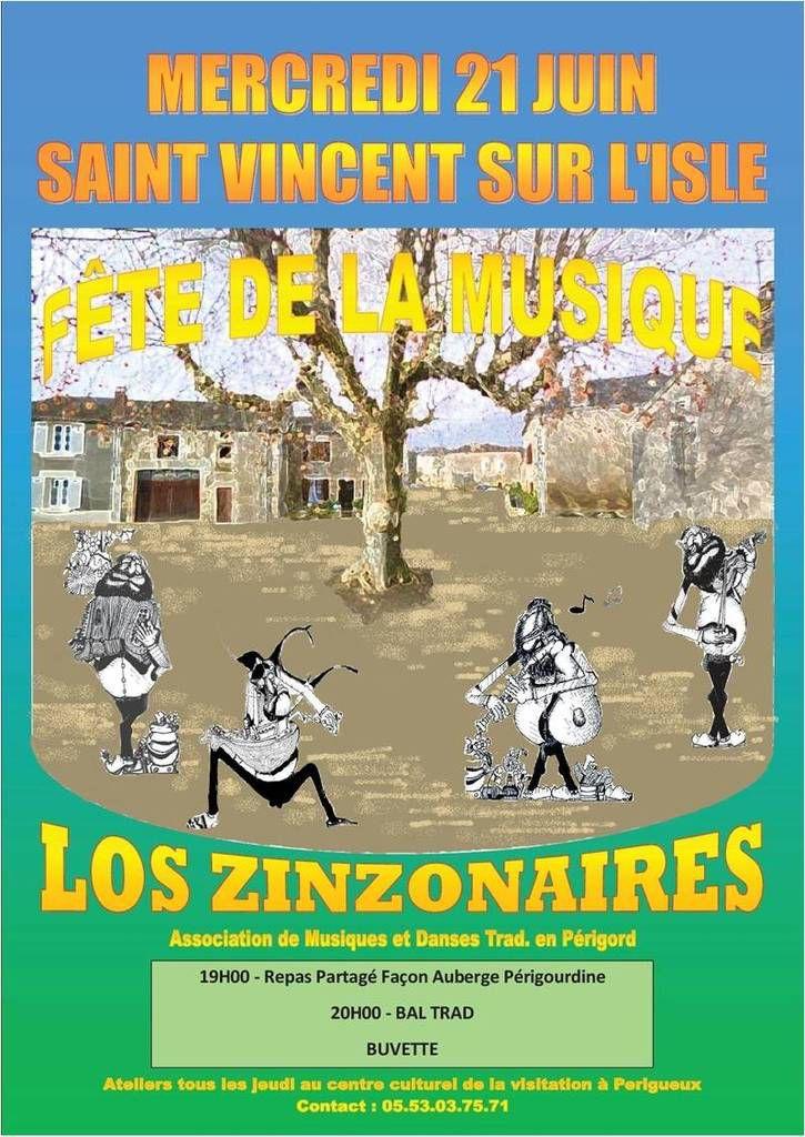La fête de la musique...c'est à Saint Vincent sur L'Isle le 21 Juin avec les danseurs et les musiciens des Zinzonaires