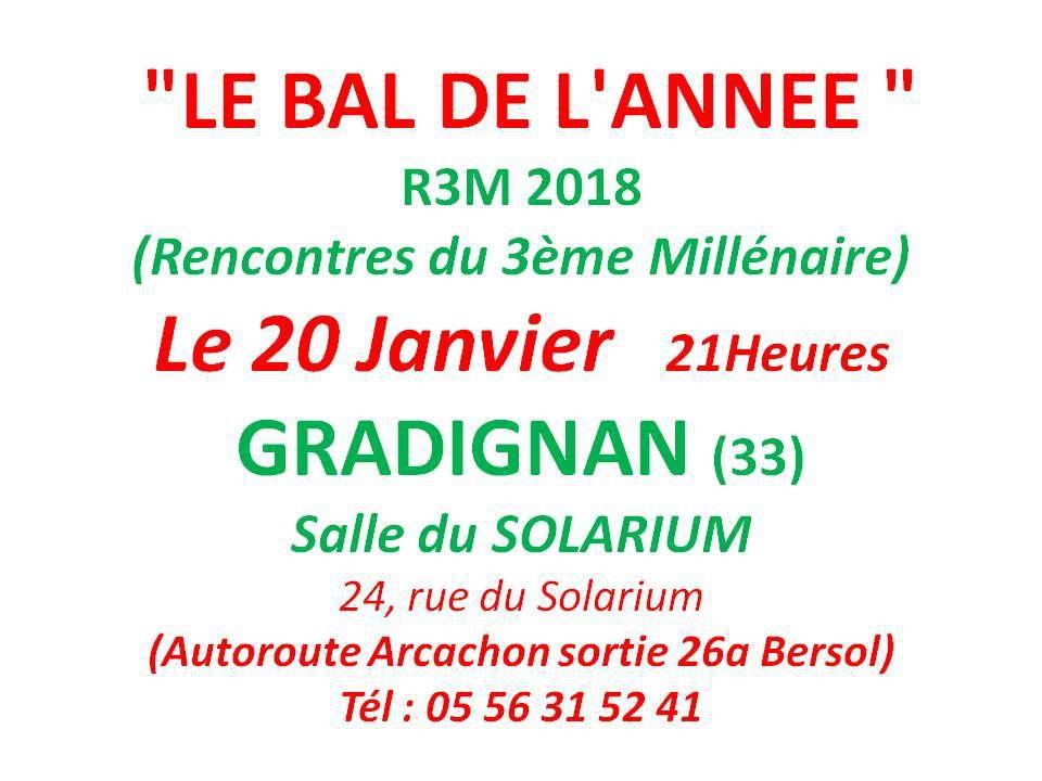 17 ème bal Rencontres du 3eme Millénaire (R3M) organisé par la Fédération Girondine des Associations des Danses et des Musiques Traditionnelles. Bal 3RM 2018