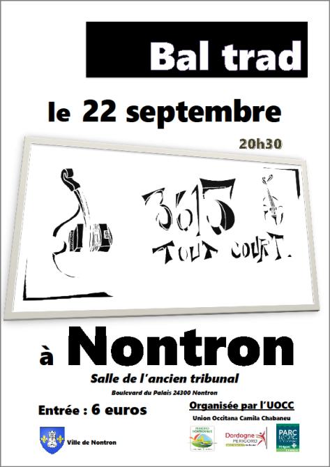 22 septembre : BAL TRAD A NONTRON AVEC 3615 TOUT COURT !!!!