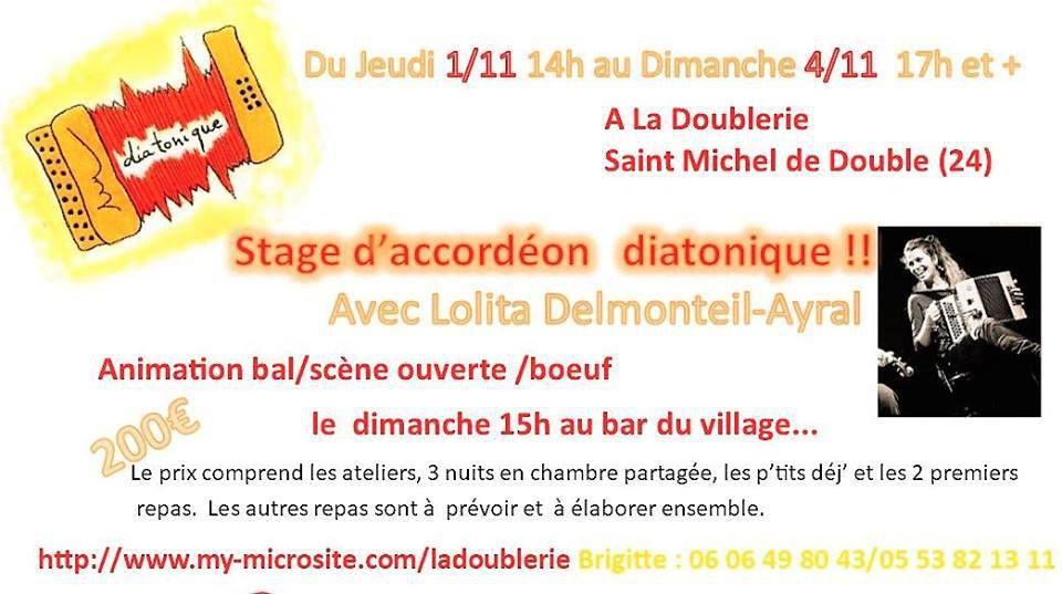 Stage d'accordéon diatonique avec Lolita Delmonteil-Ayral du jeudi 1er novembre au 4 novembre.