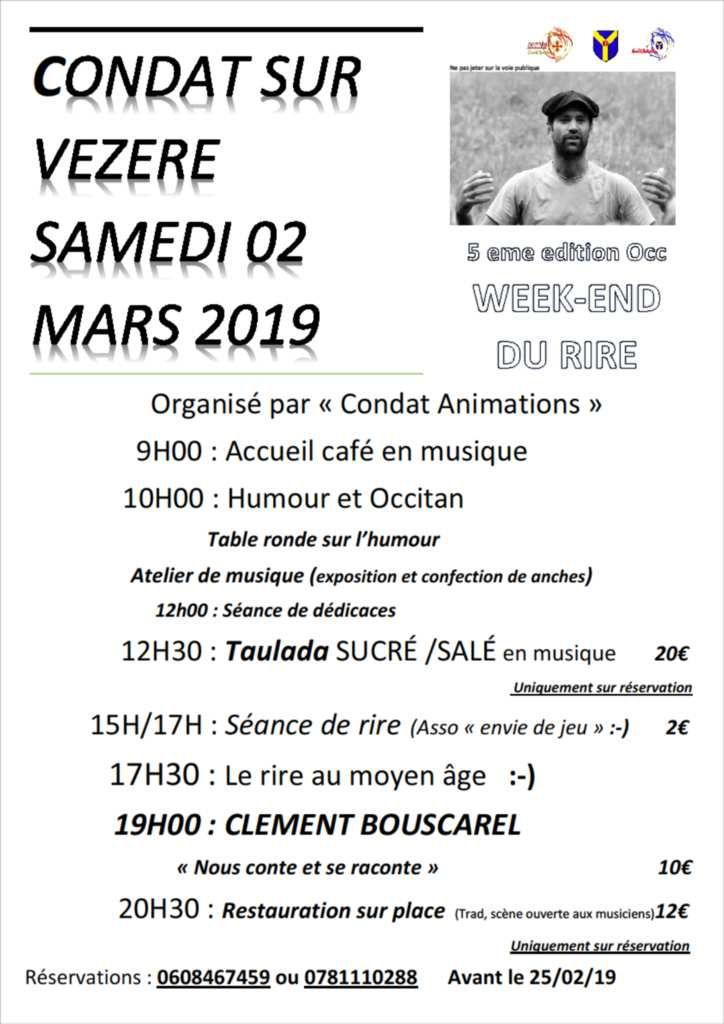 1er et 2 MARS, GROS WEEK END A CONDAT SUR VÉZÈRE, BAL, RIRE, CORNEMUSE!!!!