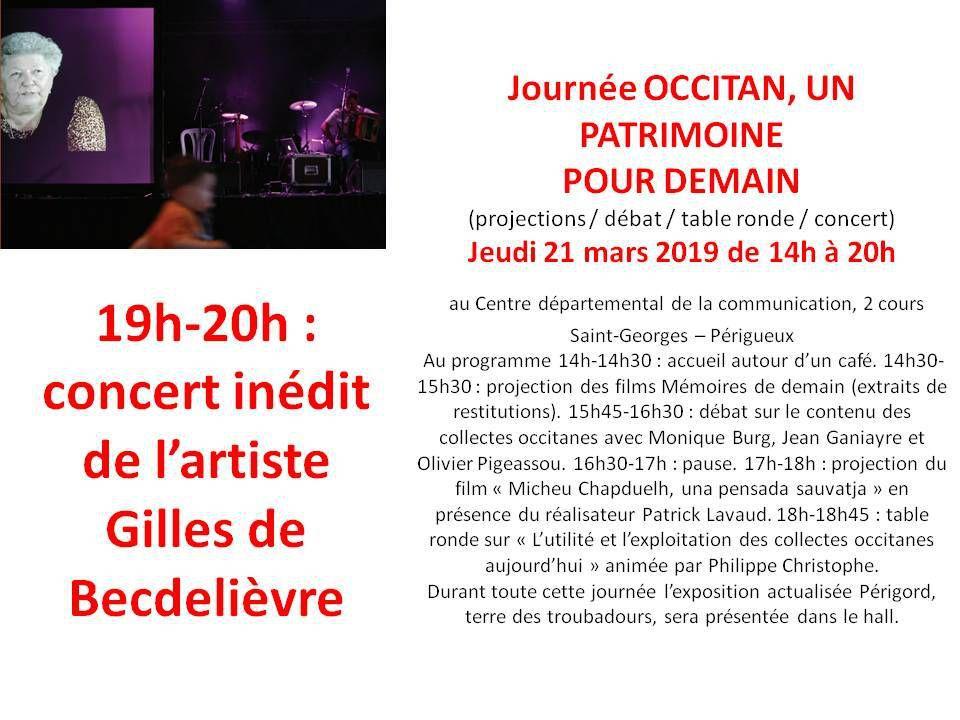 Jeudi 21 mars 2019 au Centre départemental de la communication, Périgueux 19h-20h : concert inédit de Gilles de Becdelièvre