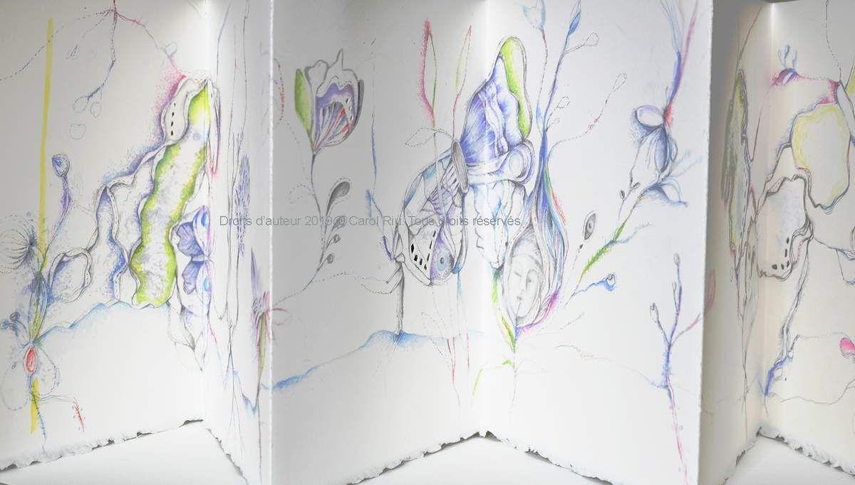 Leporello . 22 cm x 100 cm. Dessin, aquarelle sur papier aquarelle. Couverture tissu.