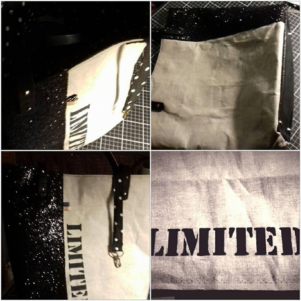 lin et paillettes, peinture pochoir Marabout noire pieds de sac et accroche clé doublé coton noir à pois