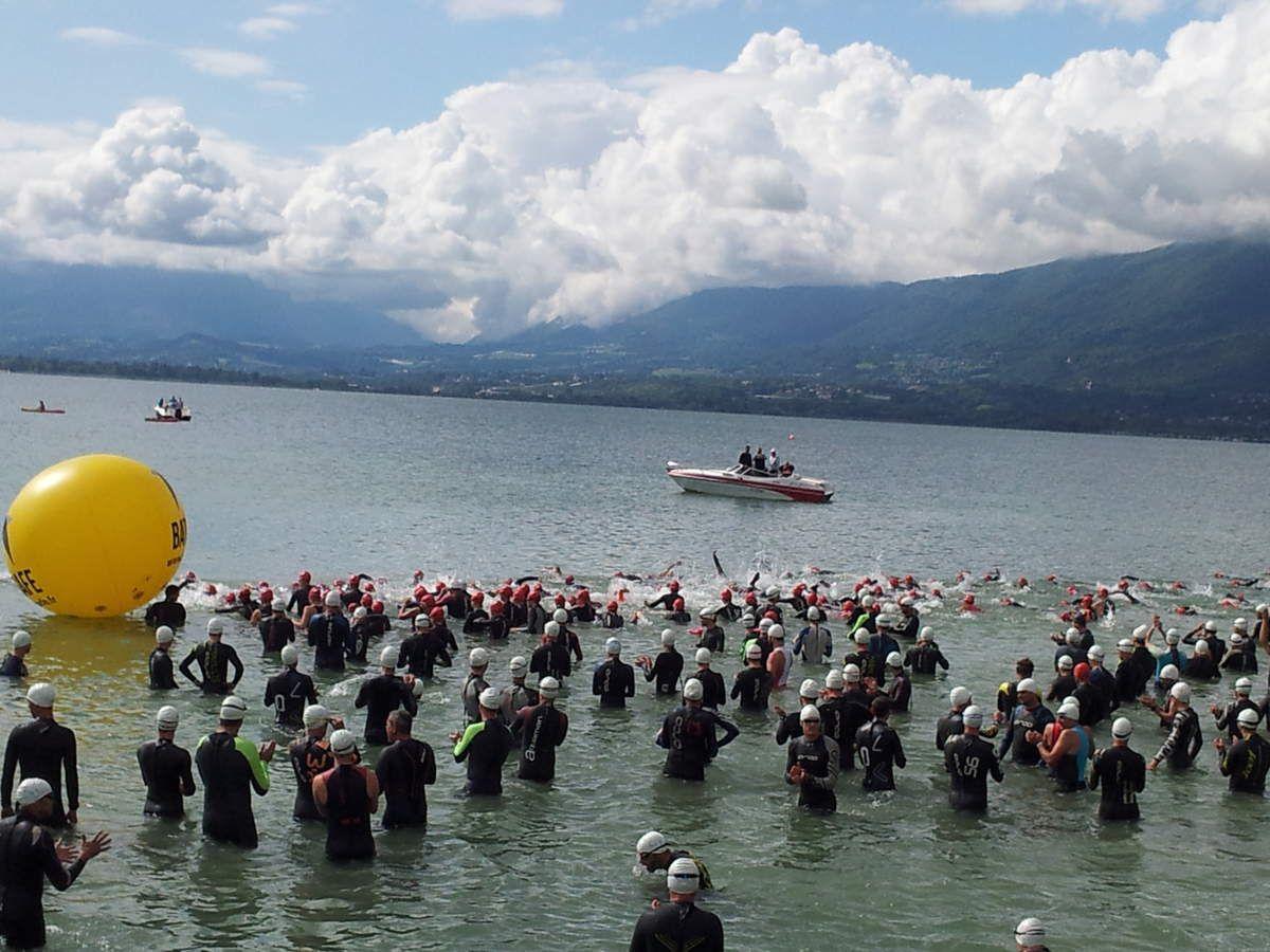 Shrek participe au Triathlon M d'Aix les Bains