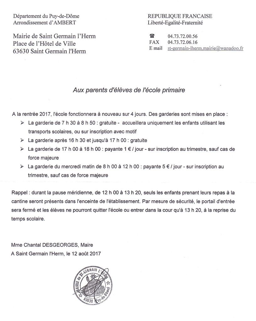 Informations de la mairie aux parents d'élèves
