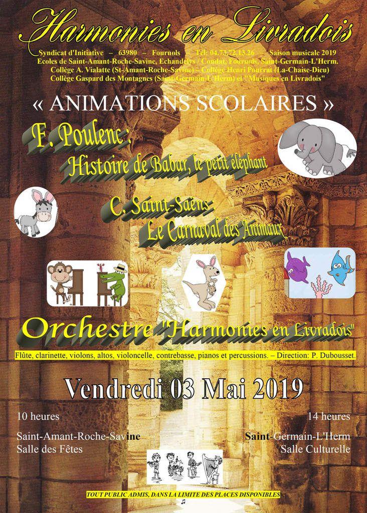 "Animations musicales par M. Christian Giraud, d' ""Harmonies en Livradois"""