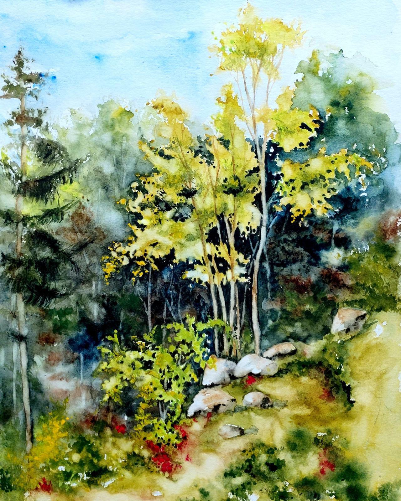 Aquarelle abby paysage forêt sous-bois