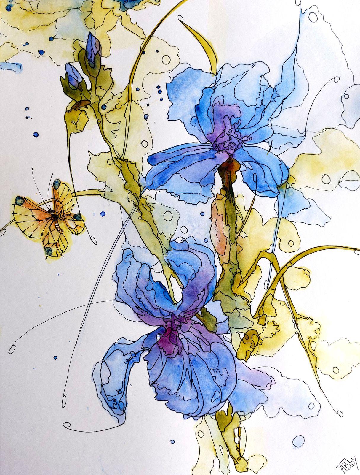 Aquarelle abby watercolor fleurs papillon sumi-e