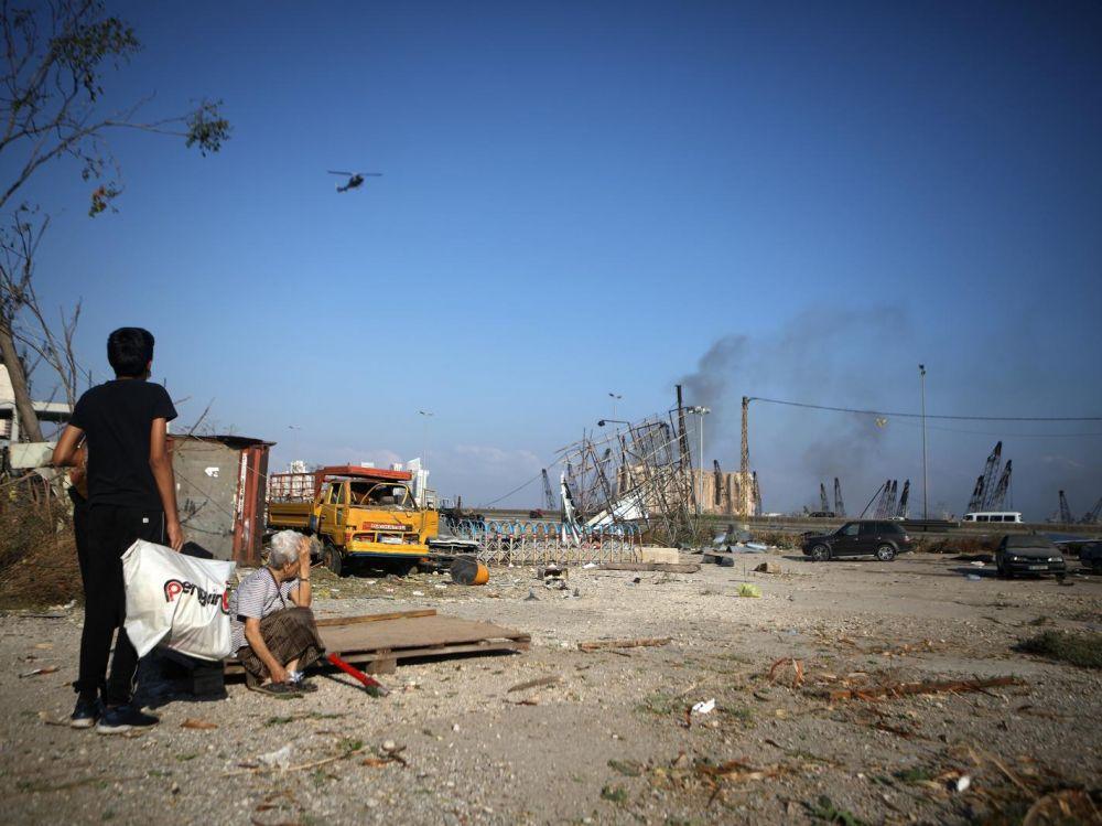 À Beyrouth après l'explosion du 4 août.  Patrick Baz / AFP
