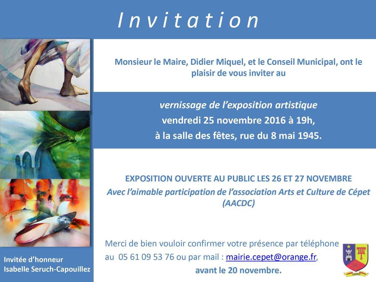 Exposition à CEPET Vernissage le vendredi 25 novembre à 19H Salle des fêtes