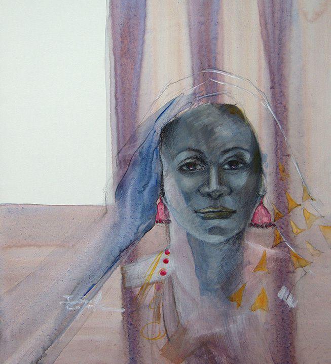 Portraits sur toile, aquarelle et acrylique