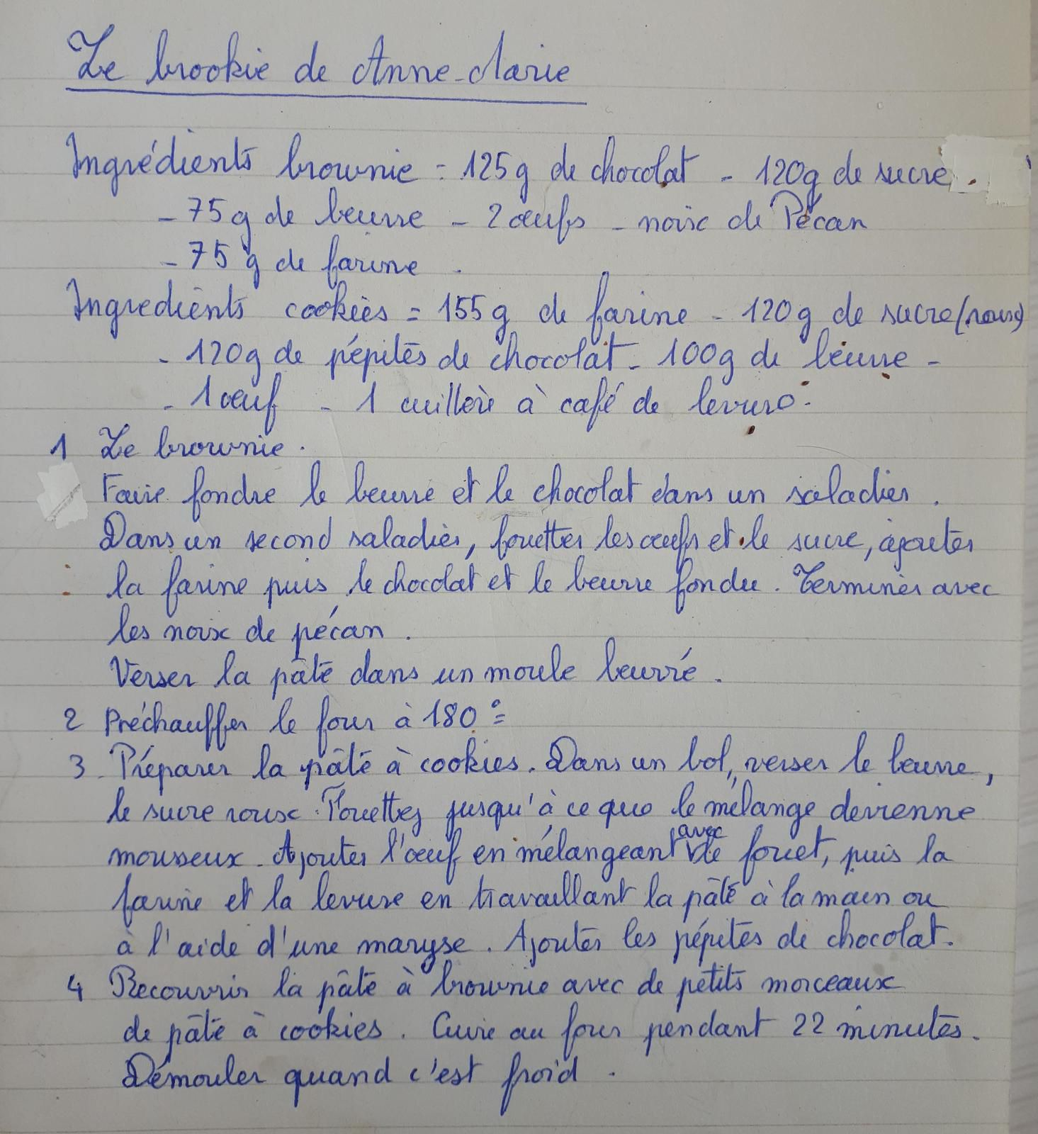 recette n°19-le brookie de maîtresse Carine-