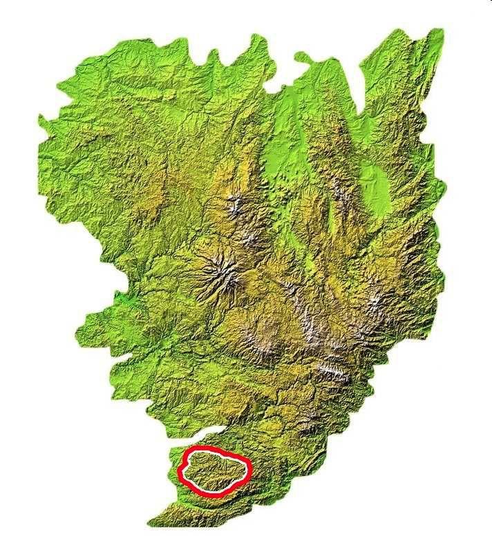 Localisation des Monts de Lacaune au sud du Massif Central