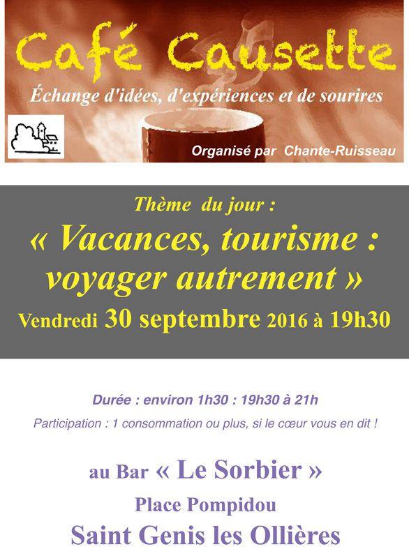 Café Causette : le 20 septembre 2016 - Thème : Voyager Autrement