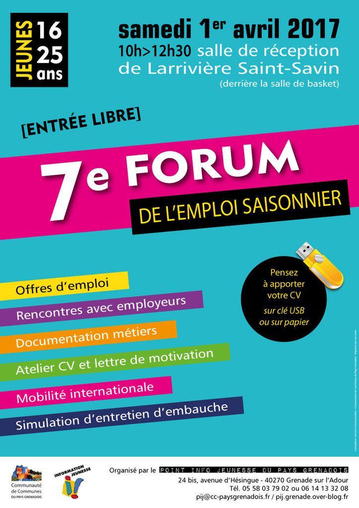 Forum de l'emploi saisonnier Samedi 01 Avril