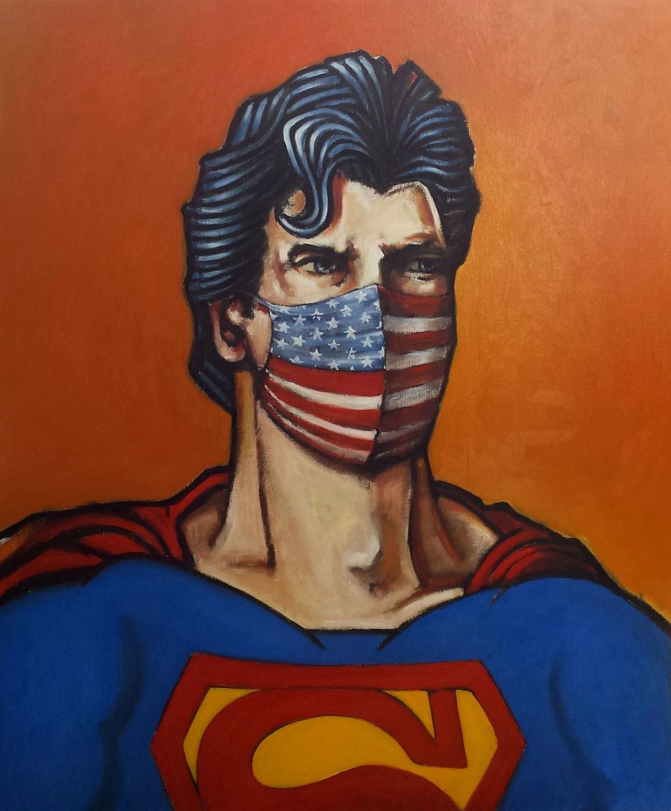 superman painting, coronavirus tableau de pascal buffard peintre