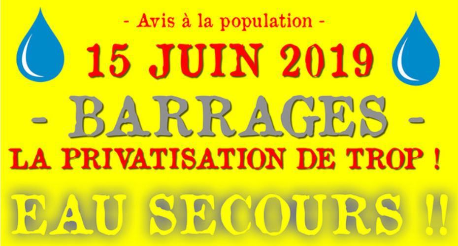 15 juin contre la PRIVATISATION des BARRAGES, barrage de SAINT-EGREVE  rdv de 12h à 17h