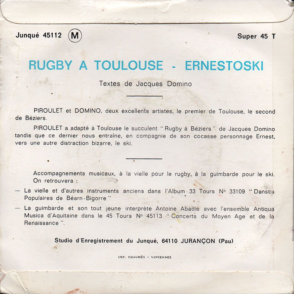 Piroulet et Domino- Rugby à Toulouse / Ernestoski - 1973