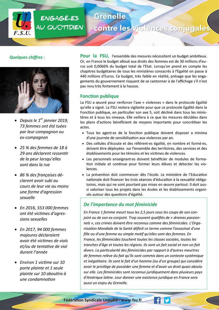 """Rentrée 2019 (""""Grenelle"""") : contre les violences faites aux femmes !"""