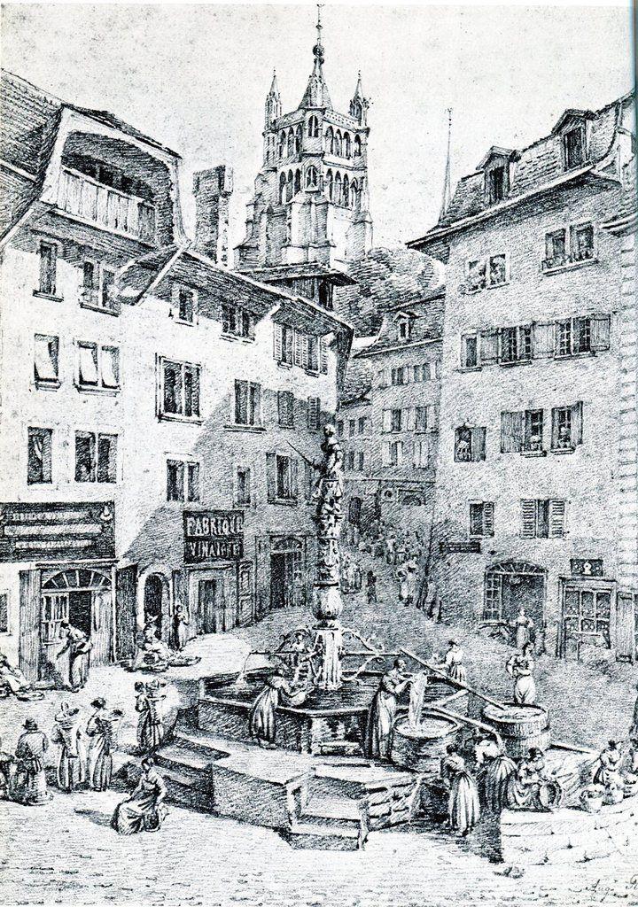 La place de la Palud en 1877. Dessin original d'Auguste Piot.