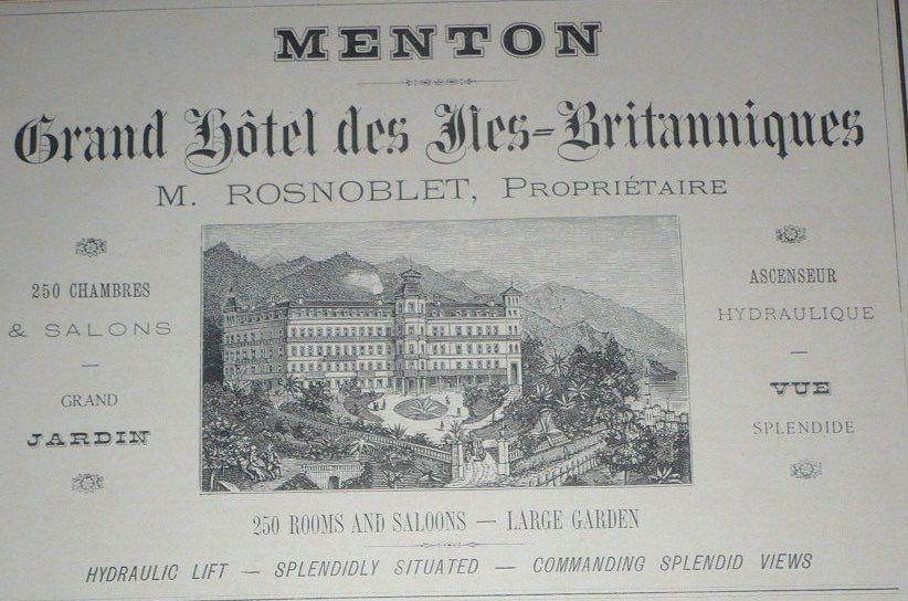 Publicité Hôtel des Iles Britanniques