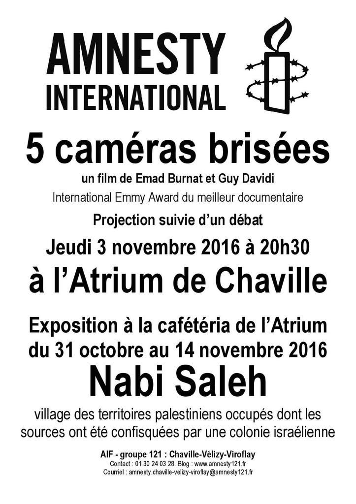 Chaville, Atrium, 1er-14 novembre, Exposition Nabi Saleh et Ciné-Débat (3 novembre)