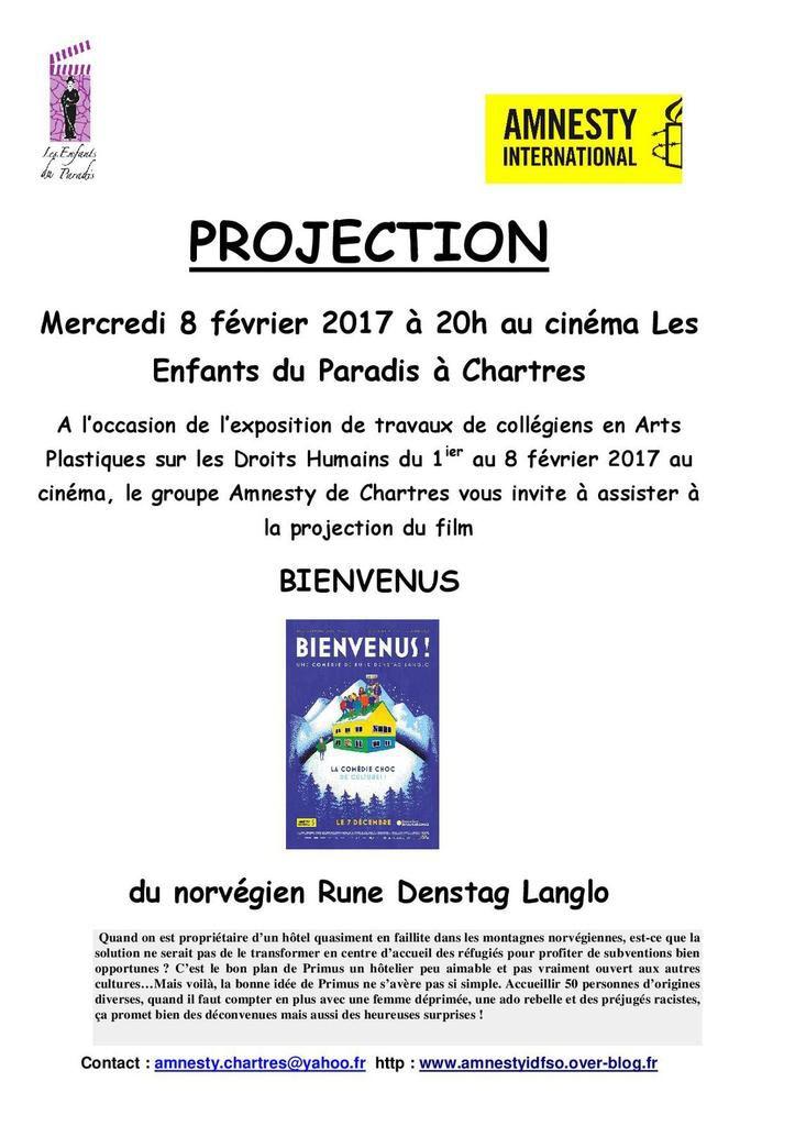 """Chartres, 8 février, Projection """"Bienvenus !"""" au cinéma """"Les Enfants du Paradis"""" avec Amnesty"""