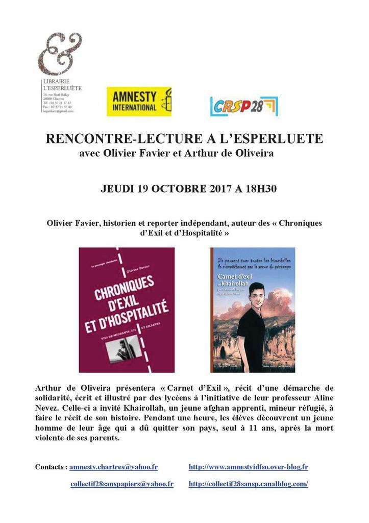 Chartres, 19 octobre, Rencontre-Lecture avec Amnesty