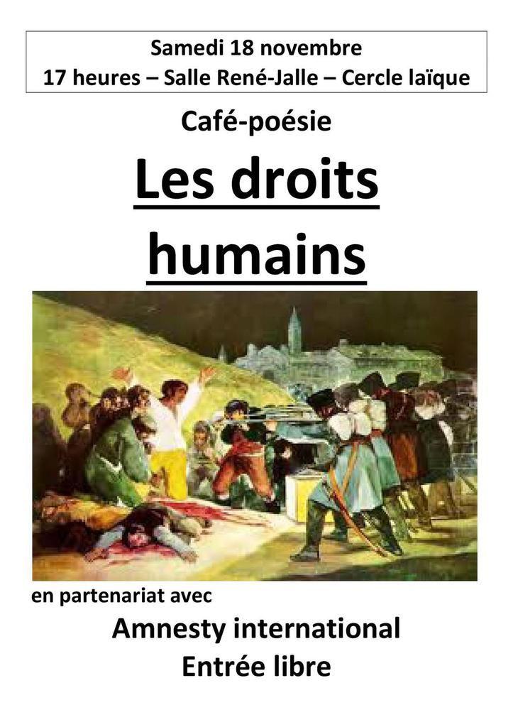 Dreux, 18 novembre, Café-Poesie, Les Droits Humains