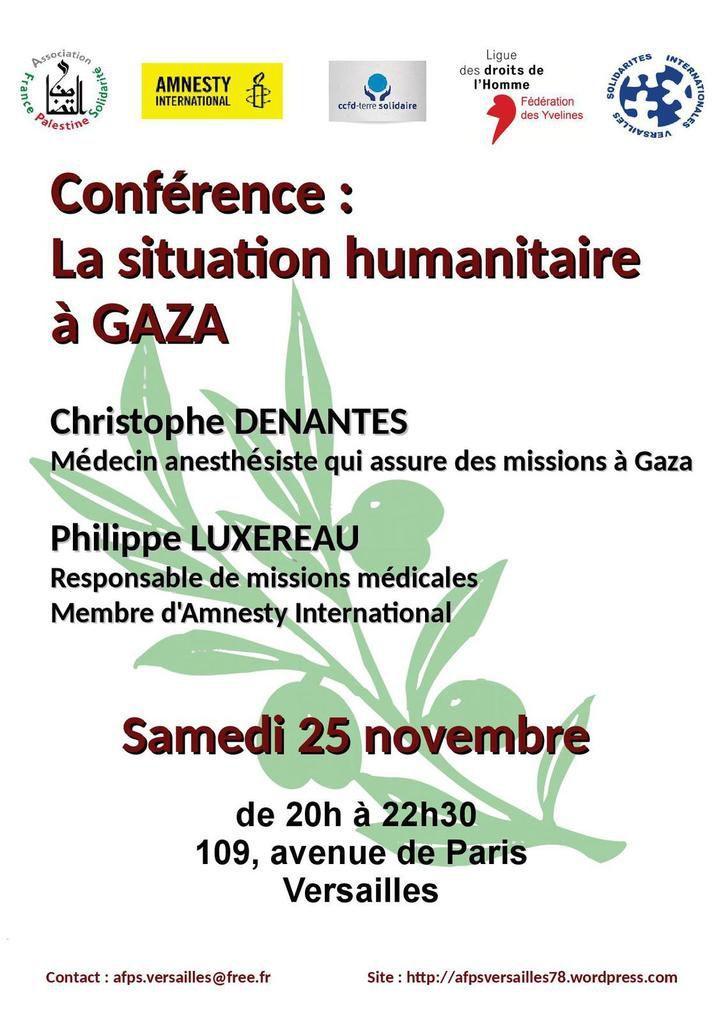 """Versailles, 25 novembre, conférence """"la situation humanitaire à Gaza"""""""